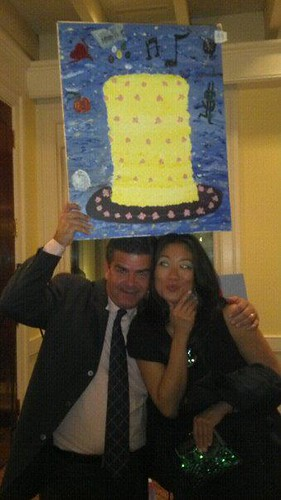 "David Cronin & me with my Chris4Life Blue Hope Bash ArtJamz ""Party Hat/Birthday Cake of Life"""