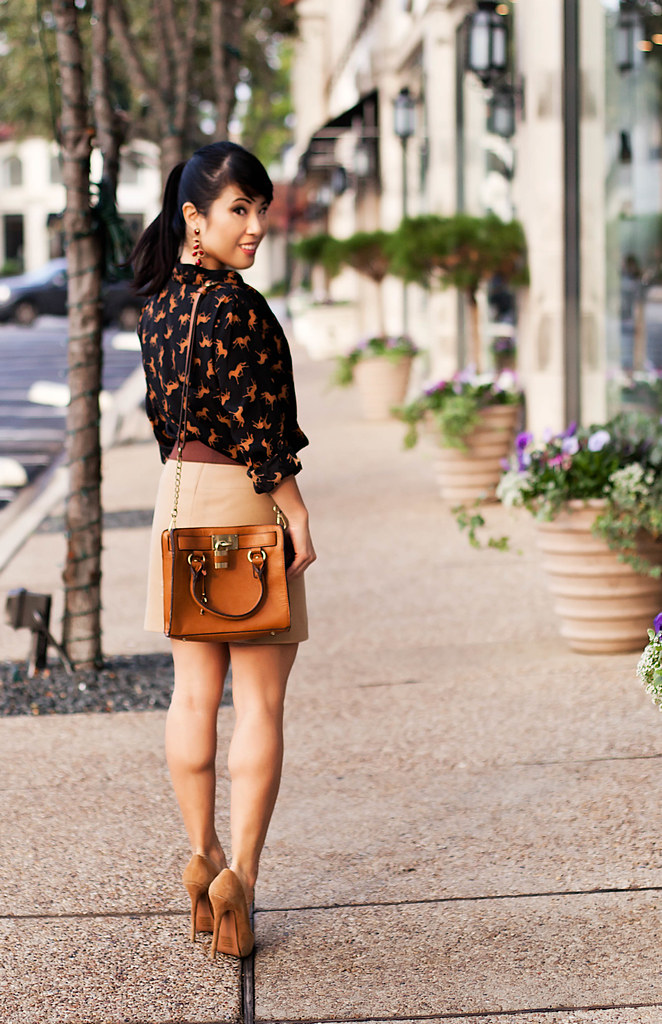 forever 21 horse print shirt cardigan, bakers karen wp tan suede pumps, banana republic camel wool mini skirt, forever 21 dual tone leatherette belt, melie bianco madison purse, michael kors rose gold small runway watch mk5430, amrita singh sunset ruby earrings