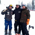 left to right: Brandon Dyksterhouse (men's team head coach), Johnny Crichton (Sun Peaks head coach) and Jonathan Hadley (men's BCST assistant coach) at Sun Peaks PHOTO CREDIT: Nigel Cooper