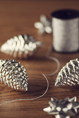 Christmas Preparations (~ Maria ~) Tags: christmas decorations silver holidays dof bokeh preparations pinecones