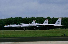 3 F-15A Eagle aircraft ready for take-off from runway-27 at Soesterberg Air Base, the Netherlands. June 1986. In front is F-15A 77-0153/ HO from the 9th TFS/ 49th TFW from Holloman AFB, New Mexico. (Aircraft throughout the years) Tags: mcdonnell douglas f15a eagle aircraft takeoff runway27 soesterberg air base netherlands june 1986 770153 ho 9th tfs 49th tfw 49tfw 9tfs holloman afb usaf new mexico newmexico