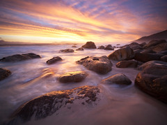 . (Andy Reeves Photography) Tags: sunset seascape water clouds landscape southafrica movement saturated nikon rocks capetown kogelbay koelbay d700