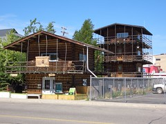 Log Skyscraper, Whitehorse, Yukon Terratory, June 2006 (Likestofish) Tags: travel canada fishing flyfishing pike freshwater laketrout lakefishing yukonterratory