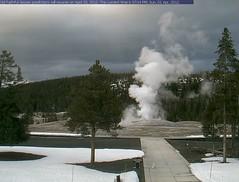 Tiny snowman enjoys the eruption of Old Faithful (Librarianguish) Tags: webcam oldfaithful yellowstone geyser 412 tinysnowman