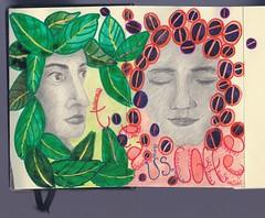 Tea Leaves vs Coffee Beans (*Ollif*) Tags: art moleskine me coffee pencils tea samantha portrat coffeebeans tealeaves zaza moly workofart molyx molyxportrait1 molyexchange