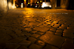 oh the streets of rome. (kvdl) Tags: street city urban rome roma night cobblestone explore bobdylan lowperspective canonef35mmf14lusm kvdl ancientfootprints