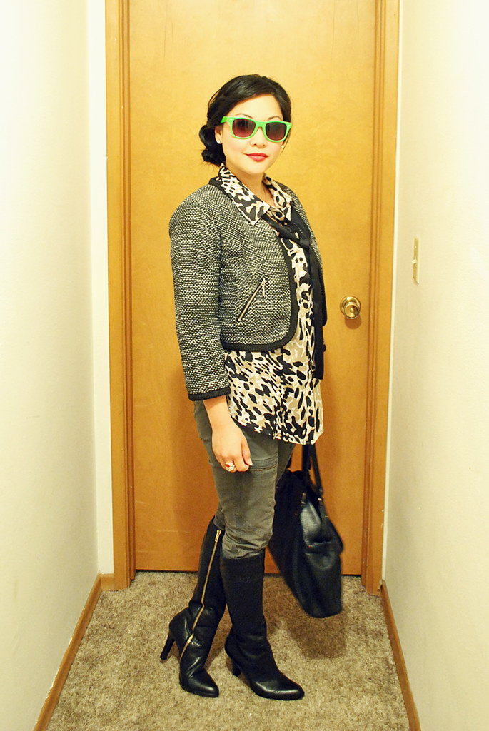 Outfit - Animal Print Blouse - Ribbon Bow - Cargo Skinny Pants - Tweed Cropped Jacket - Black Tall Boots - Black Leather Handbag - Twisted Side Bun - Neon Green Sunglasses