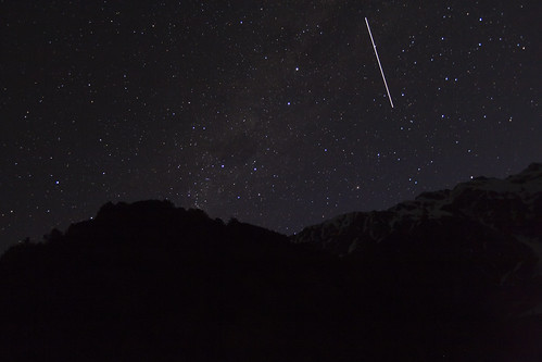 Southern Cross and The ISS Passing over the Southern Alps by Astronomr