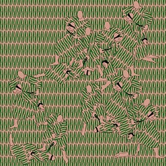 A digital drawing of graphic green clippers over a tan background. Human figures of a captor binding and/or blindfolding another figure appear overlaid in the same pattern.