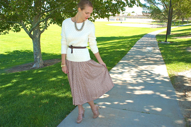 Polka dot skirt with sweater