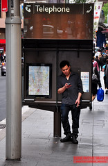 No cord (Luke-rative) Tags: oldschool smoking telstra mobilephone payphones texting smokebreak manonthestreet streetimage