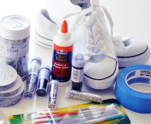 Glitter Sneaker DIY - materials