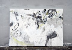 Fuyunagi  (2011) Oil on canvas, ink, pigment, charcoal, pencil 1650x1150x60mm (mayakonakamura) Tags: winter sea abstract bird field sign monster painting tokyo wings key waves wind memories dream canvas charcoal oil seashore pigment tides nakamura kyobashi mayako soloshow semiabstract galleryhinokibc oneequalstwoequalsone