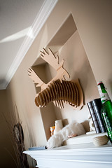 (mini/eng) Tags: home fireplace head moose cardboard mantle