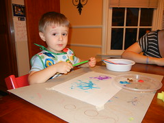 D received paint for his birthday - fun!