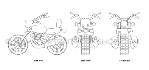 Motorbike technical drawings (watermark)