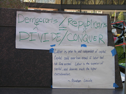 democrats/republicans  = divide / conquer