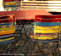 Colourful chairs (Miriam Daepp) Tags: barcelona city urban london reflections germany switzerland losangeles citylife streetphotography istanbul lausanne venicebeach bern duesseldorf cityscenes gehryhouse gehryarchitecht