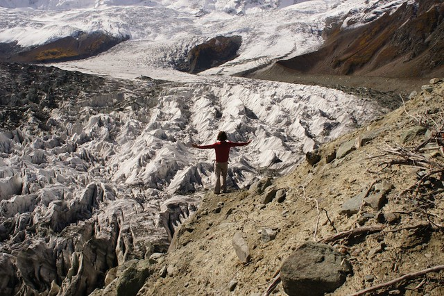 JB standing at the foot of Minapin Glacier.