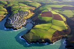 Port Isaac from above (snowyturner) Tags: sea port landscape coast cornwall harbour isaac aeroplane aerial fields