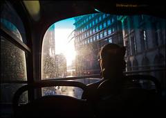 Light (Sven Loach) Tags: road street uk autumn light england woman bus london window architecture canon lights warm afternoon traffic britain head district streetphotography dirty flare passenger financial doubledecker cityoflondon g12 londonist oldbroadstreet squaremile