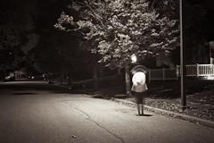 siamese. (morgan maloney photography) Tags: blackandwhite motion night outside blurry streetlight streetlamp motionblur