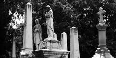 Obelisks/Faceless Statue 2 (Anamorphic Test) - #204 (Patrick DB) Tags: bw white black graveyard 50mm cross panoramic obelisk faceless anamorphic alexandrianationalcemetery 60d la7200