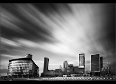 Media burst... (Chrisconphoto) Tags: longexposure bw clouds manchester movement weldingglass mediacity