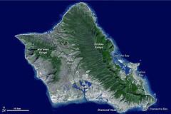 Oahu, Hawai'i (NASA Earth Observatory) Tags: hawaii oahu nasa aster topography