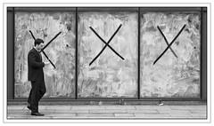 Triple X (Peter.Bartlett) Tags: street urban blackandwhite man window monochrome manchester reading mono blackwhite candid sony streetphotography nik alpha 700 sonyalpha streetphotographyurban alpha700 sonyalpha700 niksilverefex