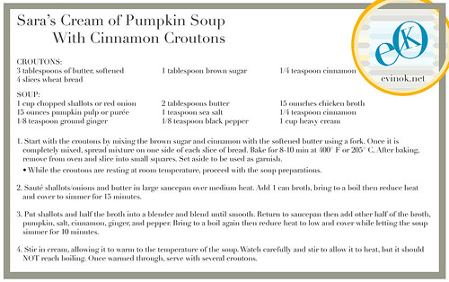Sara's Cream of Pumpkin Soup with Cinnamon Croutons