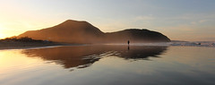 Alone in the beach (vic_206) Tags: sunset sea españa reflection beach atardecer mar spain playa reflejo soledad cantabria playadeberria canoneos60d tokina1116