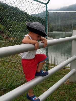 Justin at the dam