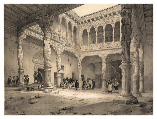 029-Patio de la Casa de la Infanta en Zaragoza-España artística y monumental..Tomo III- 1842-1850-Genaro Perez de Villa-Amil