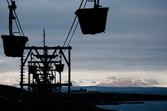 A dead Arctic industry at dawn  Rob Watkins 2011 (Aland Rob) Tags: mountains industry silhouette norway norge high system svalbard arctic glaciers coal conveyor spitsbergen longyearbyen