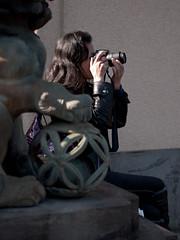 Nikon lady behind komainu (kasa51) Tags: street city people japan digital lumix tokyo photographer panasonic f18 olympuspen 45mm gf1   mzuiko princeasakashouse