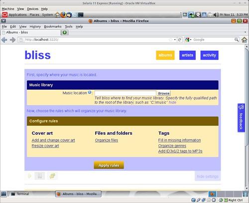 Installing bliss on Solaris 11 Express - bliss
