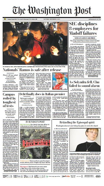 Washington Post front page, 11/12/2011