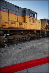 Anaheim Hauler Power In the Red Zone (greenthumb_38) Tags: railroad morning train earlymorning trains unionpacific locomotive anaheim sled gp switcher wye emd gp151 canon40d westanaheim jeffreybass loa32 costamesajob remotesled anheimwye loa25 loa32r