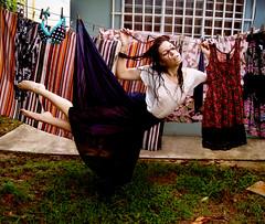 "Laundry Me (el tendedero) (Iria Bignami ""ByNilla"") Tags: selfportrait wet girl mujer levitation skirt laundry ropa falda tendedero"