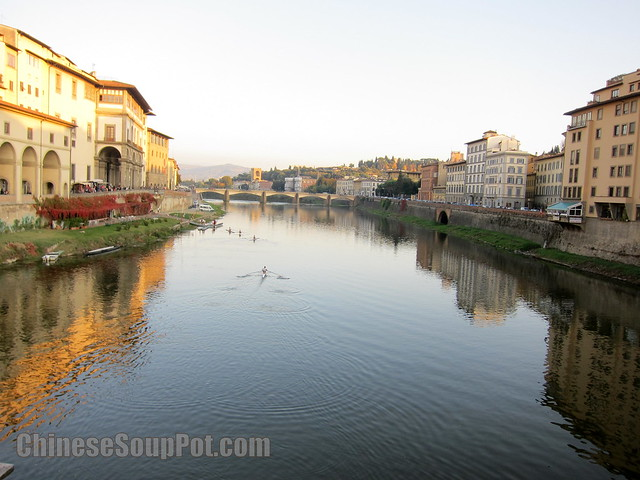 [photo-arno river florence. view from ponte vecchio old bridge]