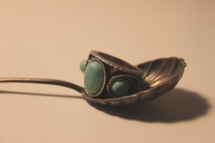 spoonful (Lanttutohtori) Tags: old blue stone vintage spoon retro ring lindex