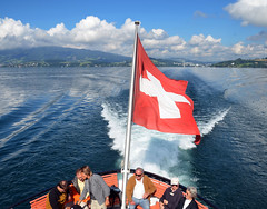 Lake Lucerne view3 (Cecil Lee) Tags: travel cruise red switzerland nikon flag lucernelake d7000 nikond7000
