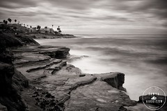 La Jolla Cliffs (Tanya Harrison) Tags: longexposure blackandwhite bw beach water monochrome sandiego lajolla cliffs erosion pacificocean nd110 fujix100