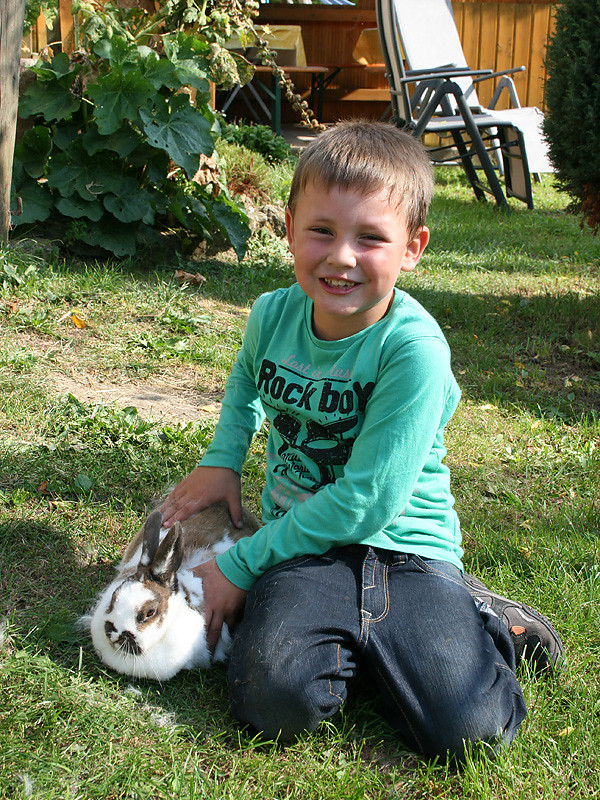Junge mit Hase