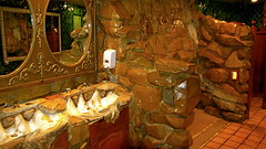 Madonna Inn Fancy Mens Room (wernerslave) Tags: california sculpture gold waterfall funny rocks treasure room vanity shell cock clam restroom cocks queer dicks sanluisobispo pricks goldenshower mensroom