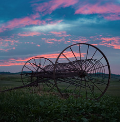 Day's End (mikeSF_) Tags: california ranch county pink sunset mike clouds golf rust pentax antique farm cost machine rusty course rake hay brentwood limited antioch contra roddy k5 oria fa43 mikesf