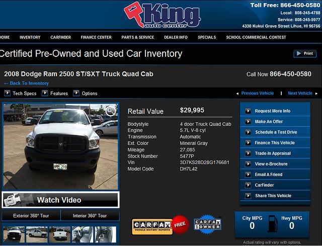 auto king cab center quad dodge ram 2008 2500 stsxt