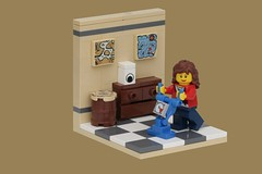 Housework (pasukaru76) Tags: lego cleaning livingroom housework vignette moc canon100mm ironbuilder