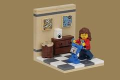 Housework (pasukaru76) Tags: lego cleaning livingroom housework vignette moc canon100mm ironbuilder